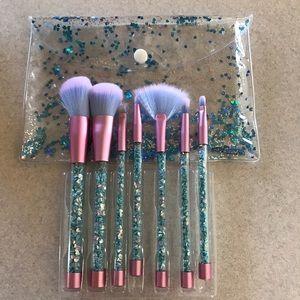 7 Pcs Glitter Makeup Brushes W bag